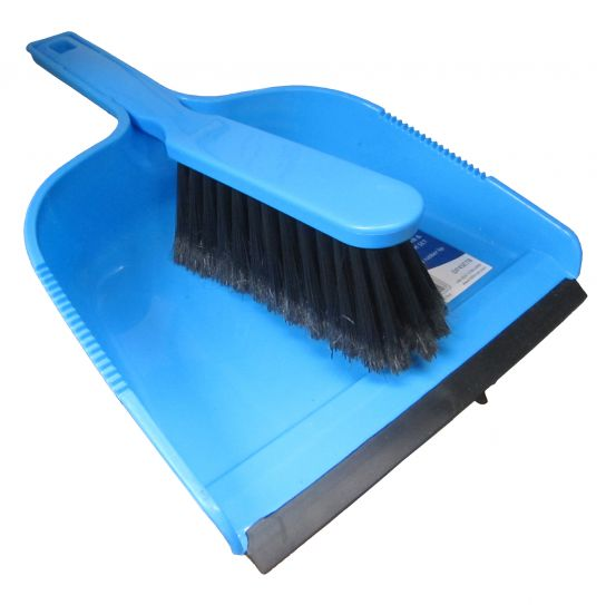 Plastic Dustpan And Soft Brush Blue