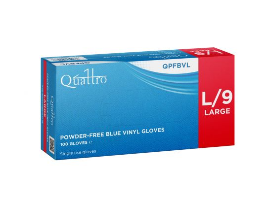 Powder Free Vinyl Gloves Blue Large x 100